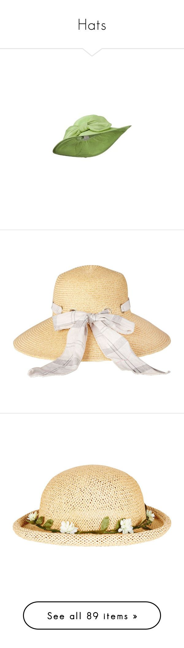 """""""Hats"""" by octobermaze ❤ liked on Polyvore featuring accessories, hats, lime green hat, wide brim hat, paper straw hat, summer hats, wide brim sun hat, barbour, barbour hat and straw sunhat"""