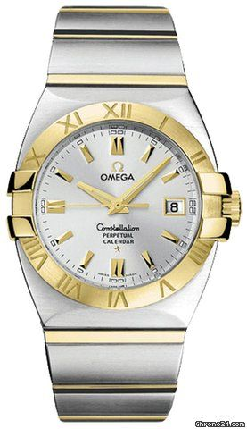 Omega CONSTELLATION DOUBLE EAGLE PERPETUAL CALENDAR $4,115 #omega #watch #watches #chronograph gold/steel case gold/steel bracelet quarz movement