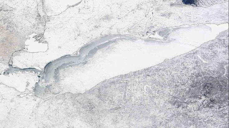 Lake Erie on Feb. 15, 2015. The lake is nearly 100 percent frozen. (Credit: NASA)  Great Lakes Ice Coverage Tops 80 Percent in Consecutive Years For First Time Since 1970s - weather.com