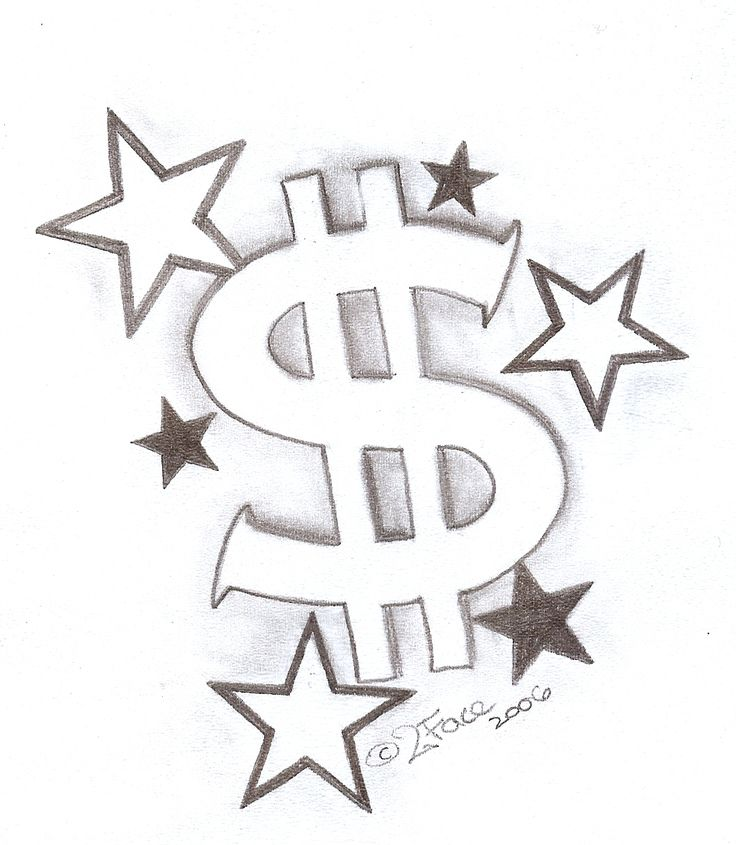 Tattooflash Dollar with Stars by 2Face-Tattoo.deviantart.com on @DeviantArt