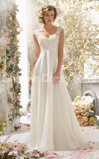 Elegant Empire Chiffon Wedding Dress With Beaded Lace Bodice and Deep-V Backstyle