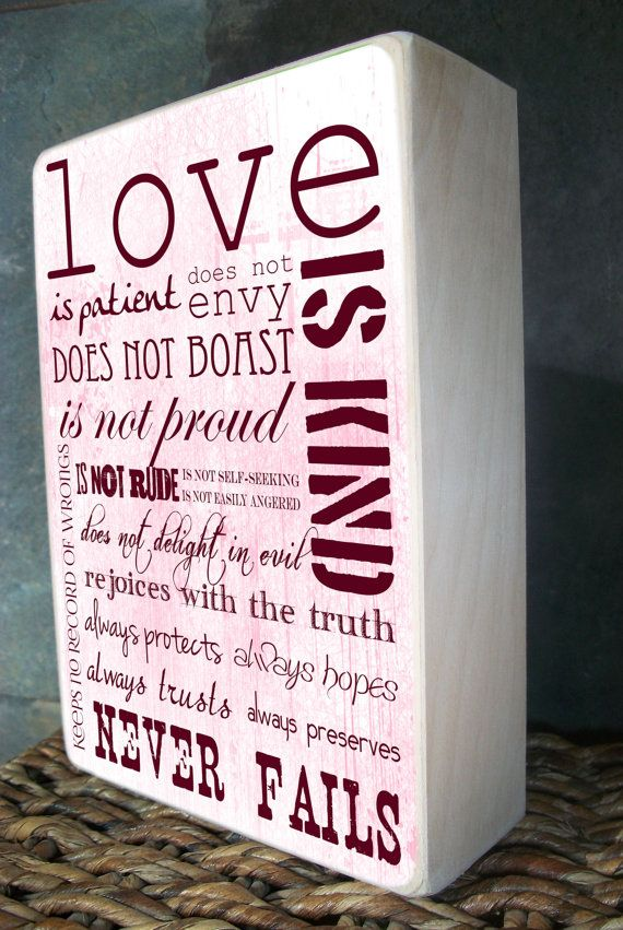 1 Corinthians 13:4, Valentine's Day Gifts, Wedding Gift, Valentine's Day Gift for Him, Anniversary Gift, Valentines Day Gift for Her, on Etsy, $40.00