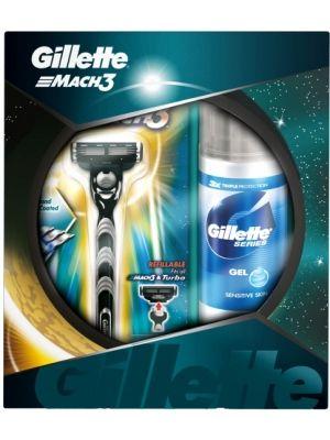 GILLETTE Mach3 zestaw do golenia  • maszynka z 3 ostrzami • ułatwiający golenie żel • gwarancja gładkiej skóry • redukcja podrażnień