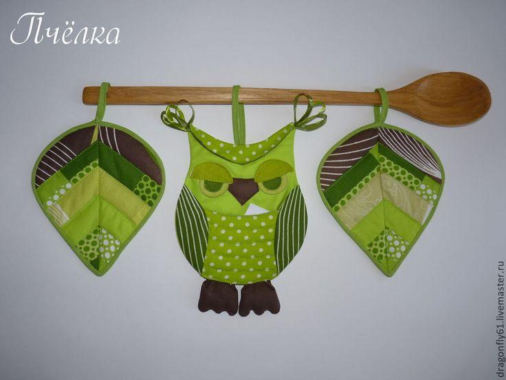 """Купить Комплект для кухни """"Лесная гостья"""" панно - кармашек Сова и листья. - зеленый, подарок для женщины"""