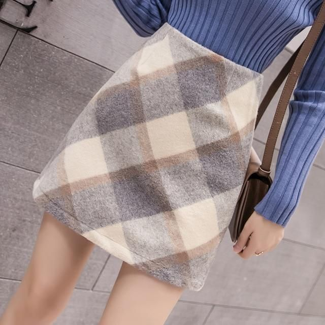Skirts Women Vintage Plaid 2019 Winter Womens Mini Skirt Korean Style Harajuku E…