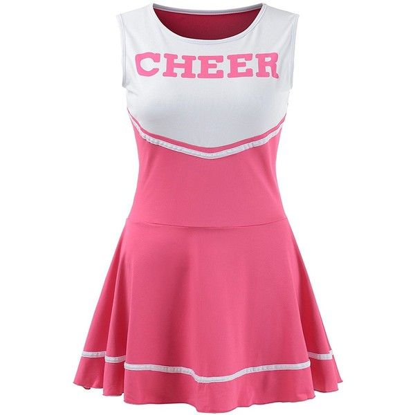Women's Musical Uniform Fancy Dress Cheerleader Costume Outfit ($17) ❤ liked on Polyvore featuring costumes, pink cheerleader costume, ladies costumes, pink lady costume, pink costume and womens costumes
