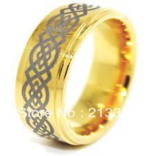 Free Shipping!USA Hot Selling E&C TUNGSTEN JEWELRY REAL 85.7% MENS New Golden Tungsten Ring Nice Wedding Band One Nice Gift