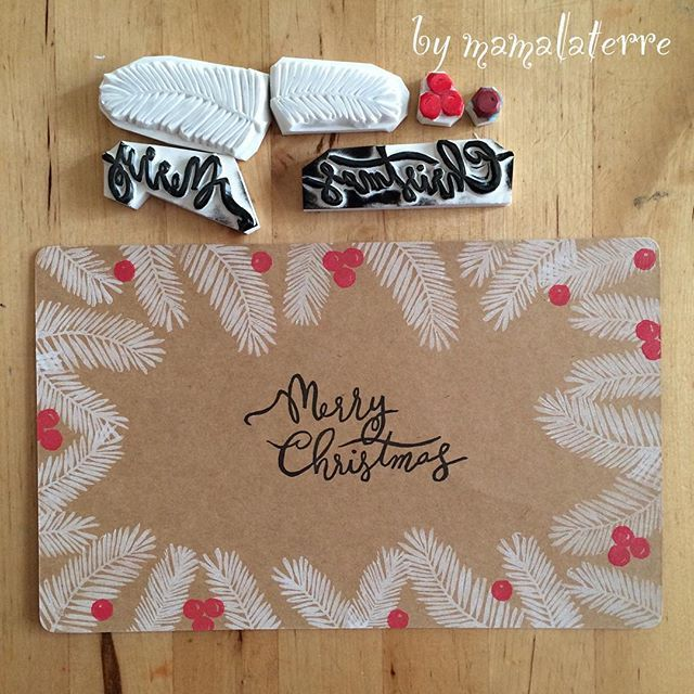 Christmas no 4 White Christmas #bymamalaterre #rubberstamp #christmascard #eraserstamp #hanco #hanko #handpainted