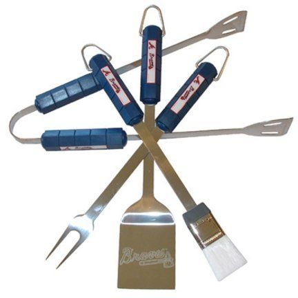 Atlanta Braves 4 Pc Bbq Set - Bbq Set Braves by BSI. $38.95. Includes Fork, Tongs, Brush and laser etched Spatula. Stainless Steel construction. Tailgating never looked so good! This stainless steel BBQ set is a perfect way of showing your team pride on Game Day. Each utensil is printed with your favorite College team's artwork. The set includes tongs, brush, fork and a laser etched spatula.