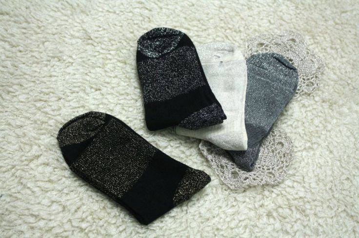 New Women Partial Twinkle Pearl Corduroy Middle Ankle Cotton Socks_4 options #Unbranded #Casual