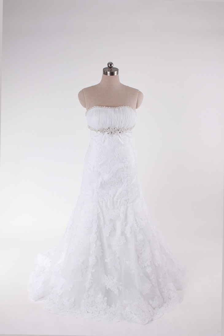 Strapless A-line tulle bridal gown $446.00