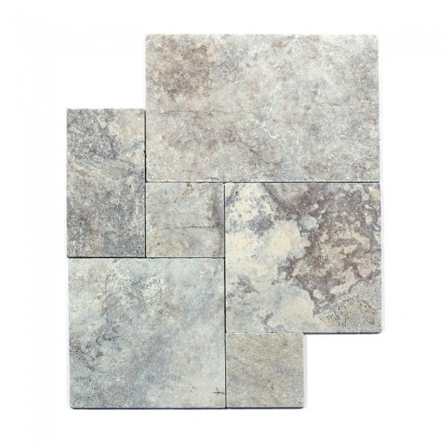 French Pattern Set Oyster Grey Travertine Tumbled Tiles