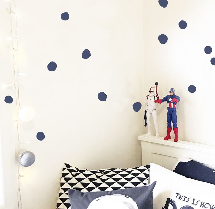 Random Paint Drops Wall Stickers. An easy way to update your walls with removable decals. https://www.moonfacestudio.com.au/product-page/paint-dots-wall-stickers #wallstickers #kidsroom #dots