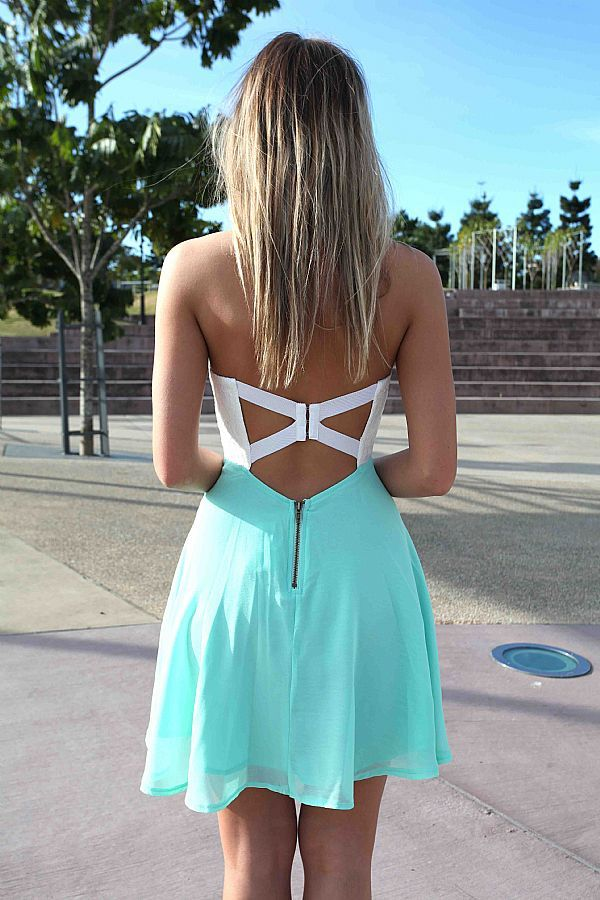SABO skirt mint strapless dress with back cutout