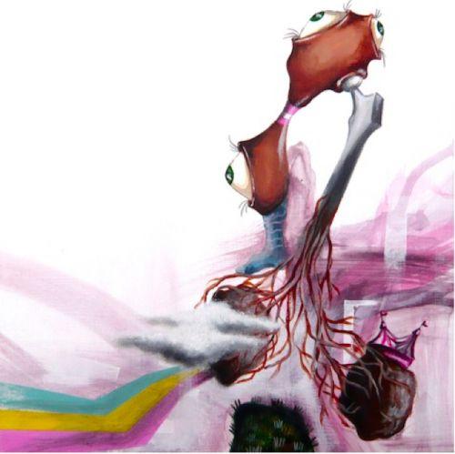 Arianna Piazza, Anatomia di un femore, pittura su pvc, 25x 25cm - 2011