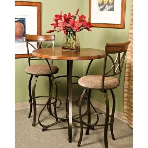 COUNTER HEIGHT ROUND TABLE PUB SET 2 STOOLS Bar BREAKFAST Nook Furniture Coffee…