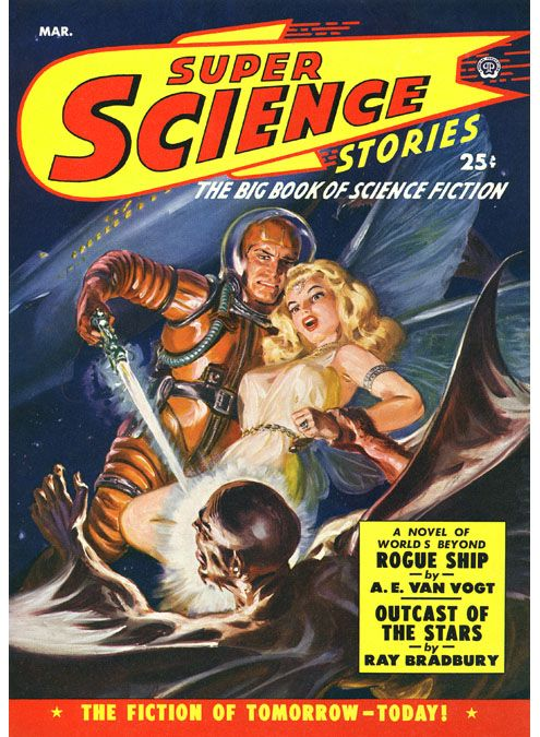 Super Science Stories magazine sci-fi pulp cover art by Norman Norm Saunders.  Spaceship, pulp retro futurism back to the future tomorrow tomorrowland space planet age sci-fi airship steampunk dieselpunk alien aliens martian martians BEMs BEM's
