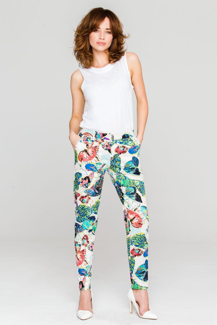 Długie spodnie damskie w odcieniach ecru