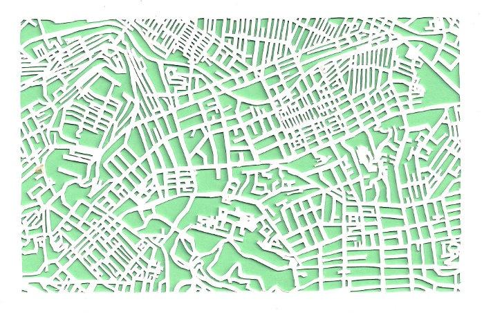 Oakland/Shadyside Pittsburgh -- cut paper map (original). $30.00, via Etsy.