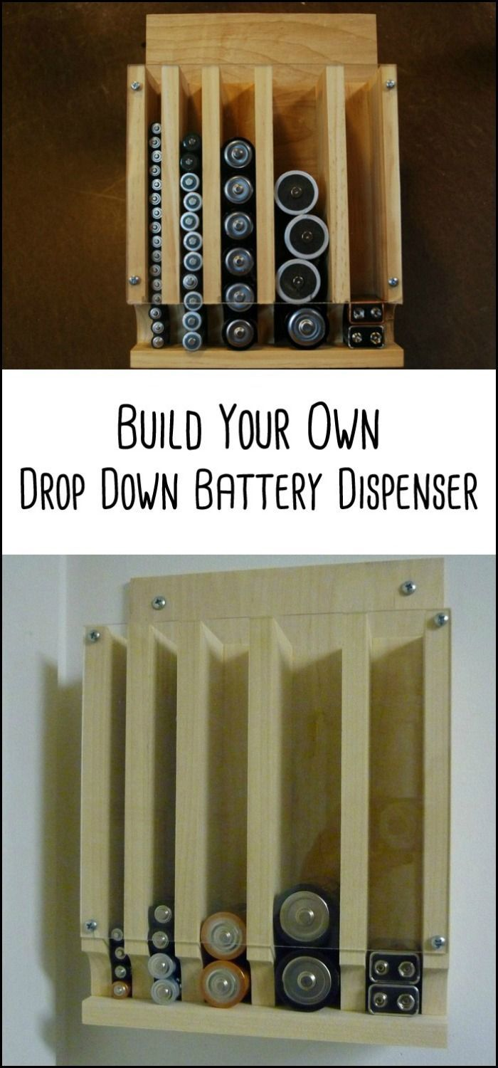 DIY Woodworking Ideas Organize your batteries by building a drop down battery dispenser
