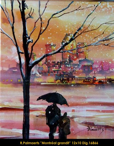 Original multimedium painting on canevas by Roland Pamaerts #Palmaerts #art #figurativeart #CanadianArt #originalartwork #mixtmedia #quebecartist #canadianartist #city #winterwonder #contemporaryart #fineart #balcondart #multiartltee