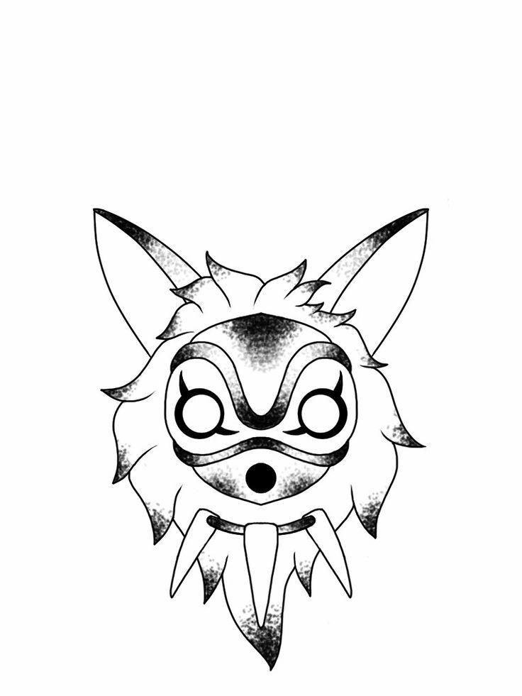 Princess mononoke mask tattoo flash design by nico di pisarro