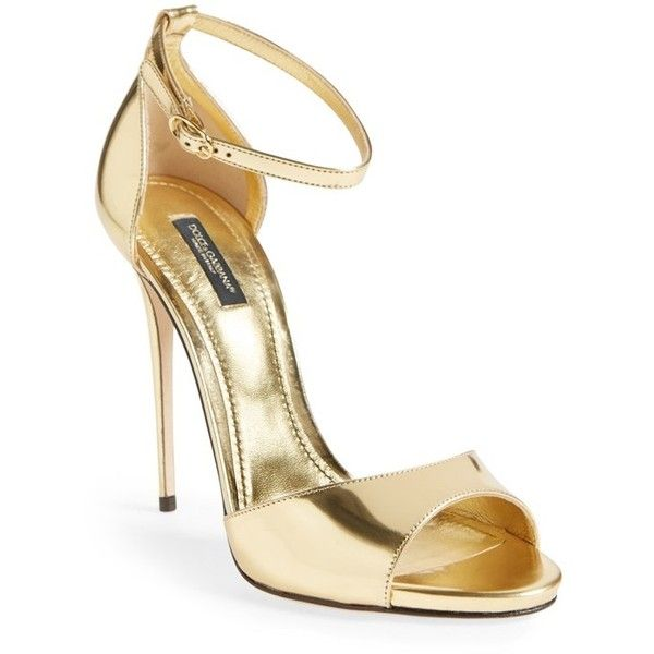 Dolce&Gabbana Ankle Strap Sandal found on Polyvore featuring shoes, sandals, heels, sapatos, gold patent, ankle strap heel sandals, heels stilettos, dolce gabbana shoes, ankle strap sandals and heeled sandals