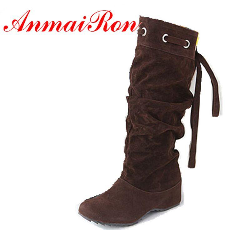 ANMAIRON Hot Koop Laarzen 4 Kleuren Half Laarzen Vrouwen Dame Laars Winter Schoenen Wig Schoenen Mode Sexy Sneeuw Warm Eur 34-43