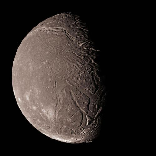 Ariel, moon of Uranus, taken by Voyager in 1986