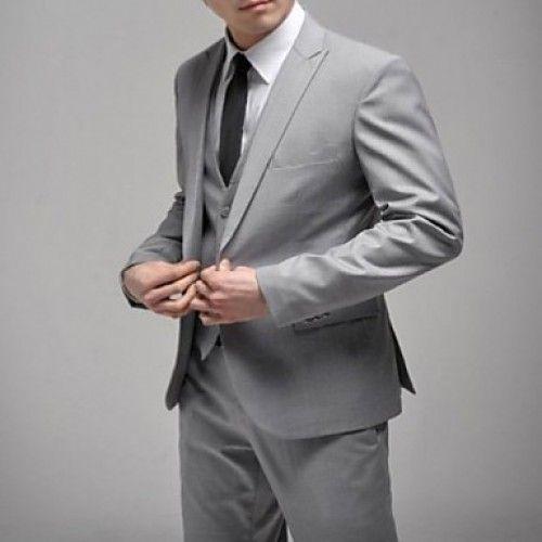 casamento formal terno cinza dos homens (blazer e calça), um botão cinza magro homens casual ternos jaqueta