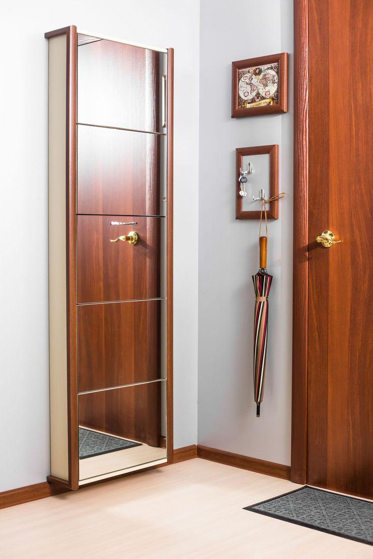 Обувной шкаф Айрон серии Элегант с зеркалом, цвет Орех | ShopIron.Ru