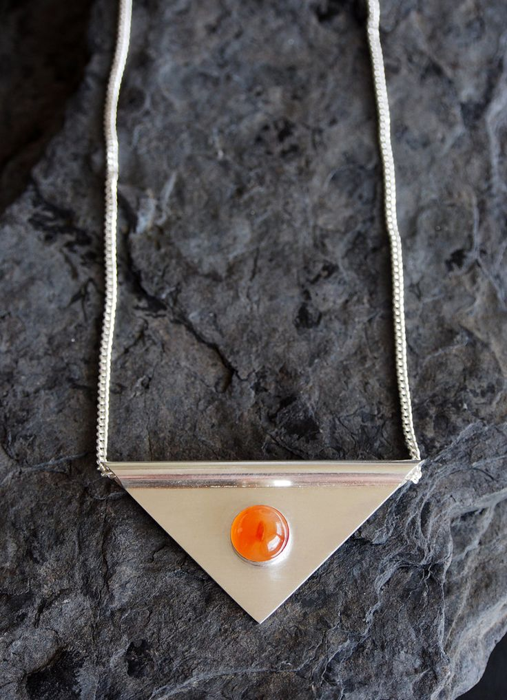 ASBJORN unique handmade sterling silver necklace pendant jewellery jewelry carnelian gem stone geometric triangle quality statement gift by OLOVdesigns on Etsy