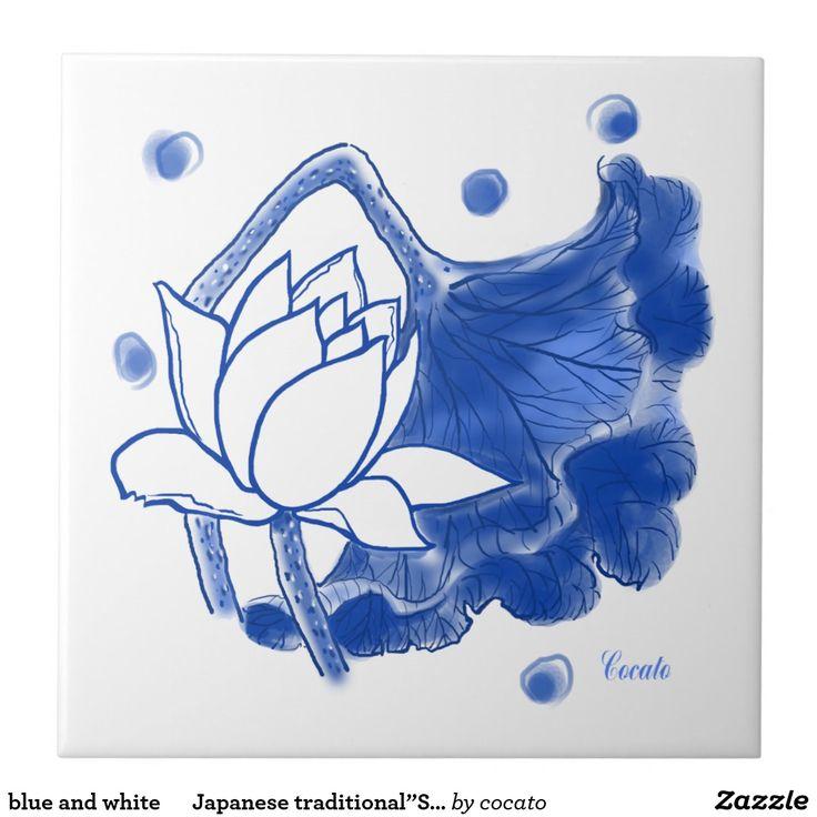 "blue and white  Japanese traditional""Sometuke"" 正方形タイル大"