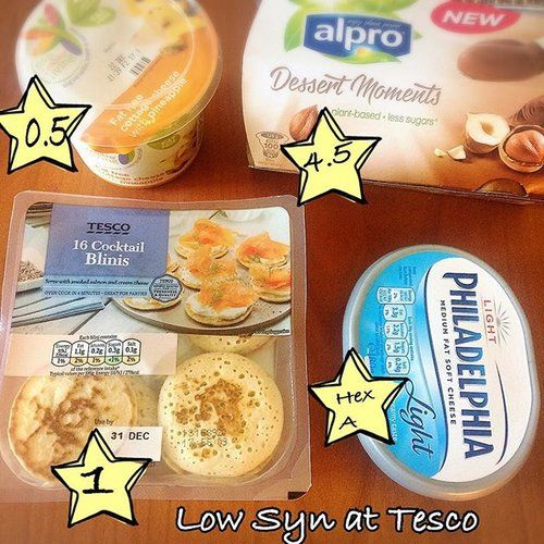 A few little finds and some of my tesco faves. Healthy Living cottage cheese with pineapple, 0.5 syns per 100g. Cocktail Blinis 1 syn each (great for Xmas), Philadelphia light 75g for #healthyA, and those gorgeous alpro desserts are 4.5 syns each. #slimmingworld #slimmingworldideas #sw #dairyfree #fatfree #lowsyn #swtesco #swonabudget