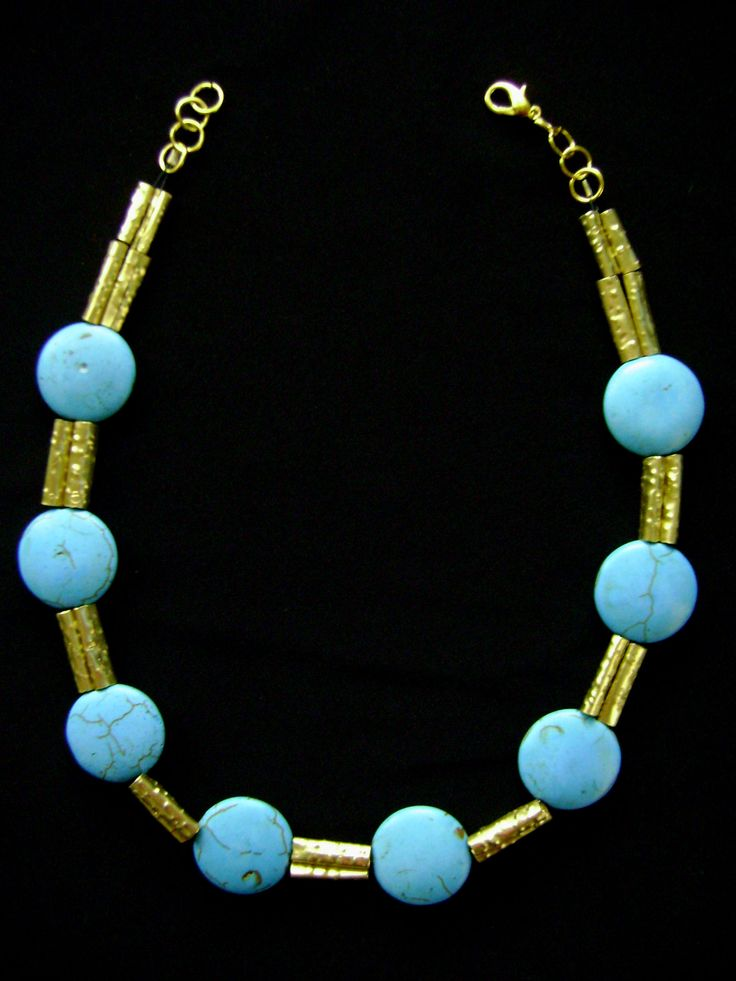 Brass and turquoise stones necklace