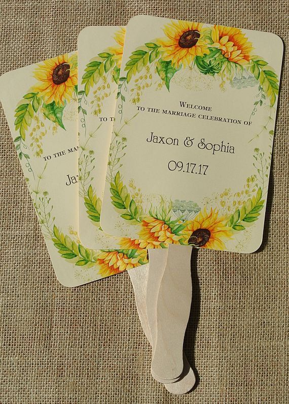 Sunflower Wedding, Wedding Hand Fans, Rustic Wedding by abbey and izzie designs