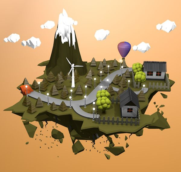 3D Island Low Poly by Mostafa Mohamed, via Behance