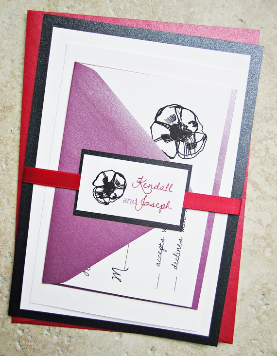 Purple and Red Poppy Wedding Invitation  Flower by RiverCityStudio, $5.50