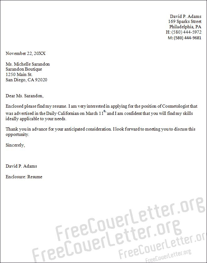 cover letter sample for cosmetology samples resume free resumes design