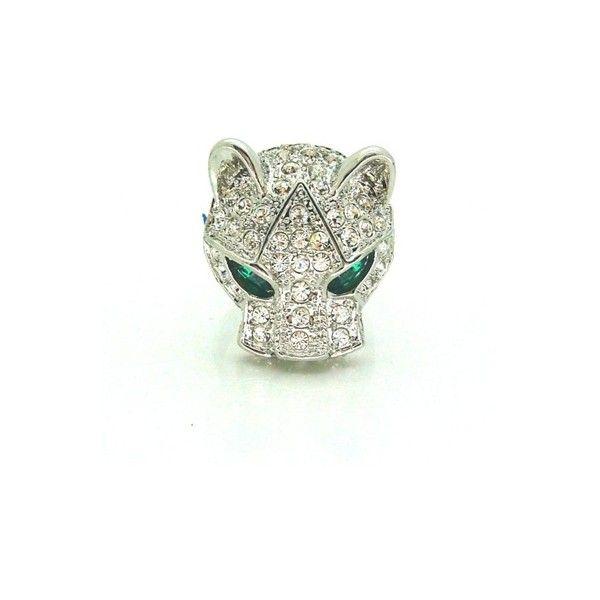 Silver Tone Swarovski Crystal Cat Panther Ring