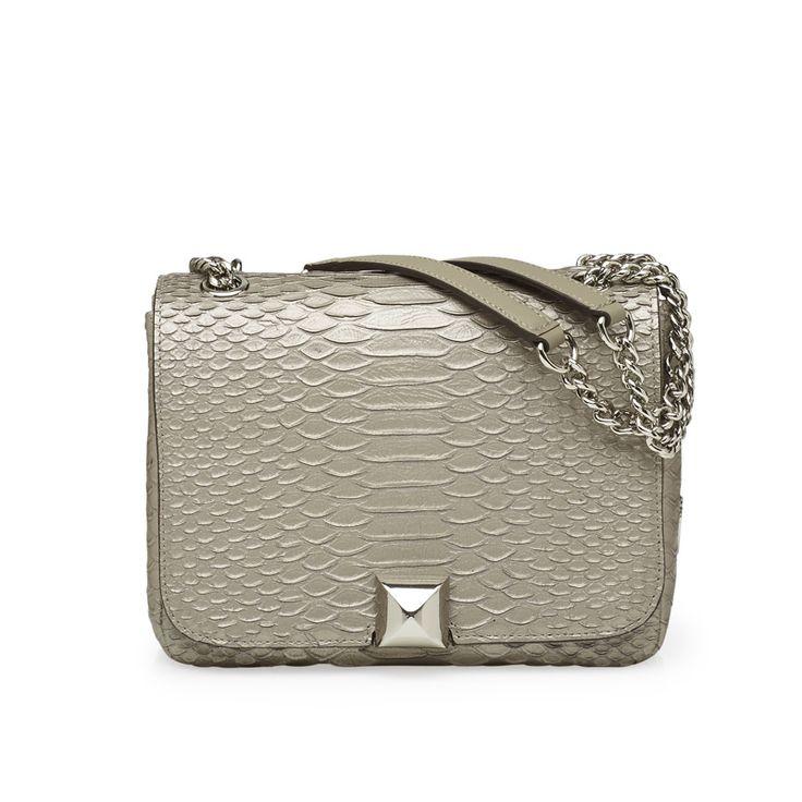 'Mavrick' shoulder bag in anthracite python embossed leather! #leowulff #shoulder #bag