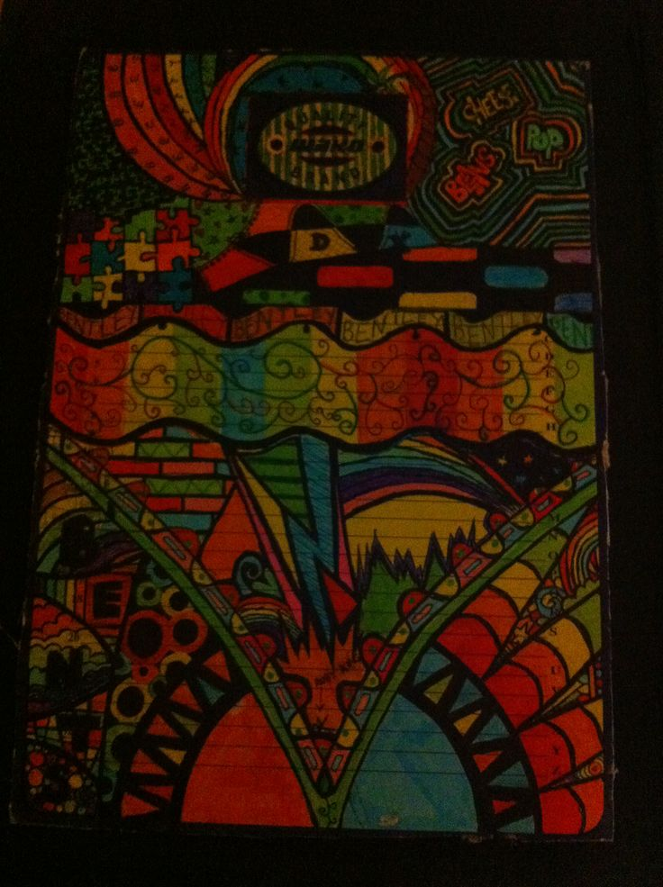 Inside of a ring binder zentangle - distracted in class 2