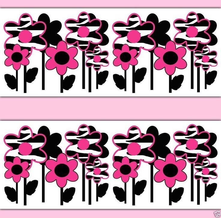 Best Details About Hot Pink Zebra Flower Wallpaper Border Wall 400 x 300