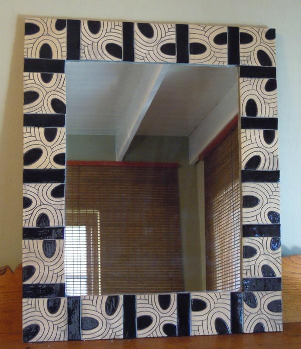 Tiled Mirror - Black Ovals