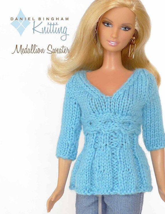 "Knitting pattern for 11 1/2"" doll (Barbie): Medallion Sweater ♡"