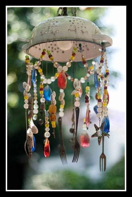 Colander cutlery and bead windchime spoon fork crafts for Wind chime craft projects