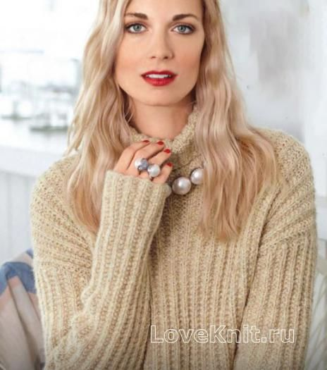 Пуловер оверсайз с узором в рубчик схема спицами » Люблю Вязать