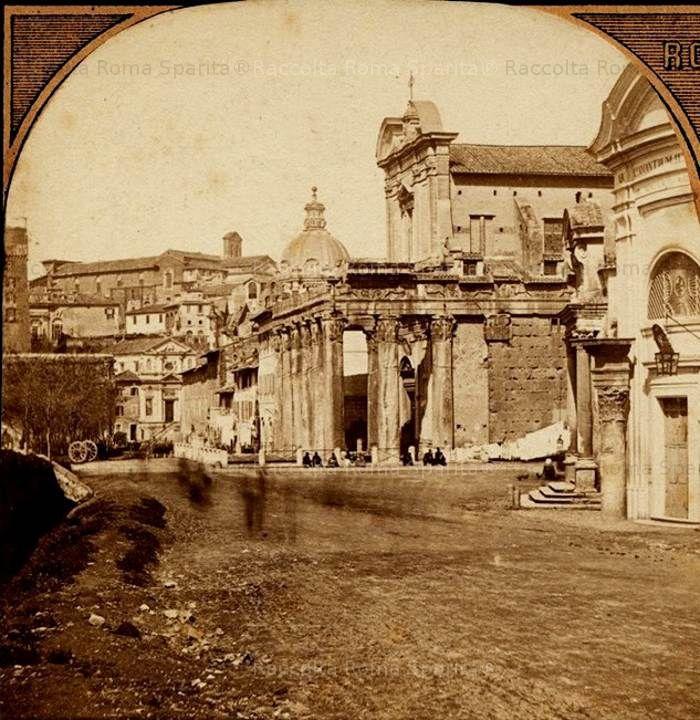 Foro Romano CAMPO VACCINO con tempio di romolo e antonino e faustina 1860