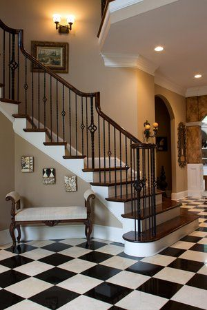This Would Be My Dream Staircase W The Black Amp White Tile