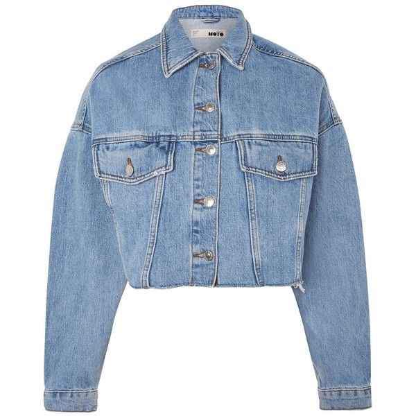 Topshop Moto Hacked Off Crop Denim Jacket 60 Liked On Polyvore Featuring Outerwear Jackets Mid Stone Blue Blue Denim Jacket Topshop Jacket Denim Jacket